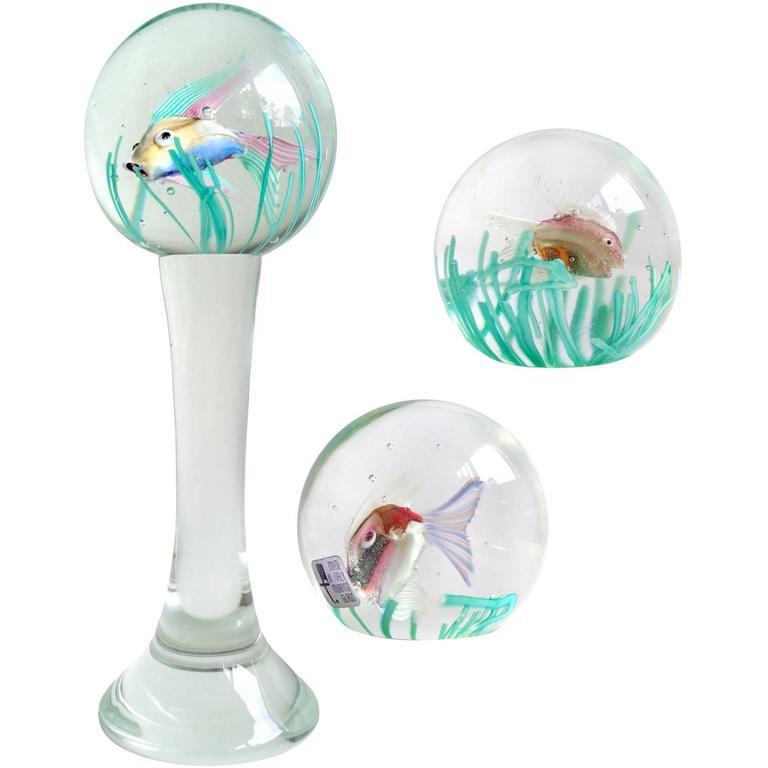 Fratelli Toso Murano Double Fish Aquarium Italian Art Glass Paperweights