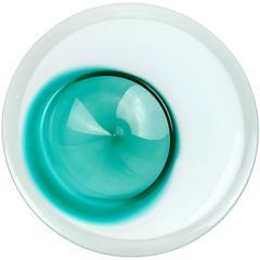 Flavio Poli Murano White Green Italian Art Glass Asymmetrical Space Age Bowl