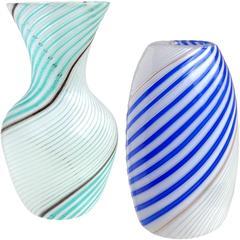 Dino Martens Aureliano Toso Murano Ribbon Italian Art Glass Flower Vases