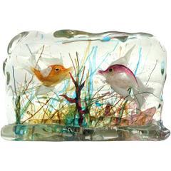 Cenedese Murano Orange Purple Gold Fish Italian Art Glass Aquarium Block