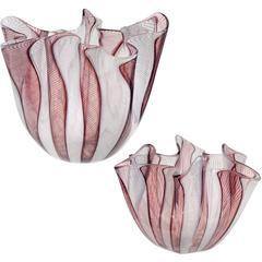 Bianconi Venini Murano Signed Italian Art Glass Fazzoletto Handkerchief Vases