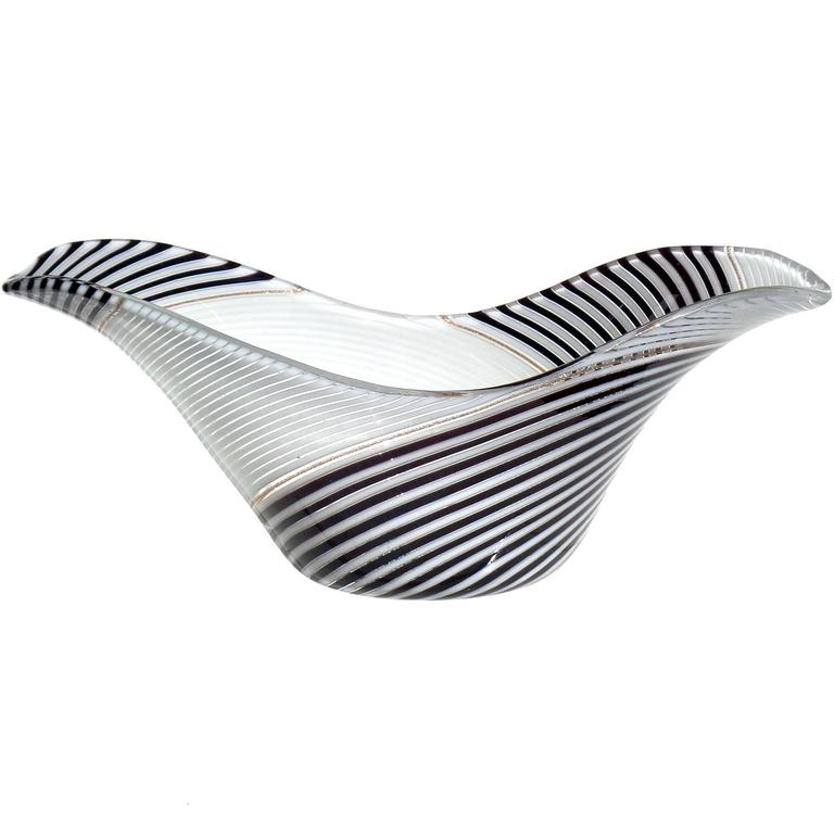 Dino Martens Aureliano Toso Murano Black White Ribbons Italian Art Glass Bowl For Sale