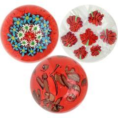 Fratelli Toso Murano Millefiori Flower Canes Italian Art Glass Paperweights