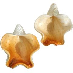 Barbini Murano White Orange Gold Italian Art Glass Seashell Sculptures Bowls