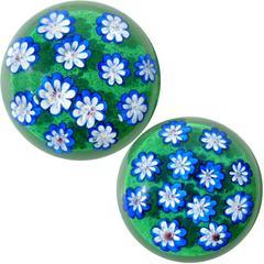 Murano Blue Millefiori Wild Flower Garden Italian Art Glass Paperweights