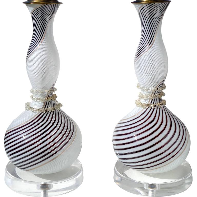 Dino Martens Aureliano Toso Murano Black White Italian Art Glass Lamps For Sale