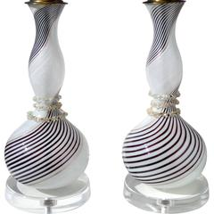 Dino Martens Aureliano Toso Murano Black White Italian Art Glass Lamps
