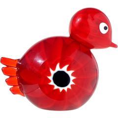 Ferro Murano Red White Black Murrine Italian Art Glass Bird Paperweight