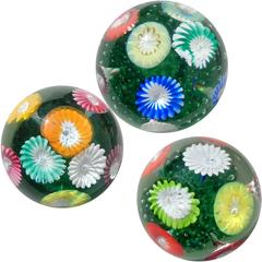 Fratelli Toso Murano Rainbow Flower Garden Italian Art Glass Paperweights