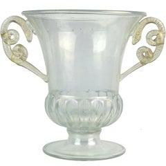 Paolo Venini Murano Iridescent Gold Flecks Italian Art Glass Snakes Trophy Vase
