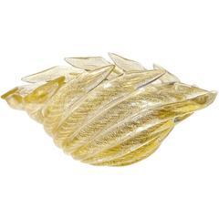 Barovier Toso Murano Gold Flecks Scissor Cut Rim Italian Art Glass Bowl Vase