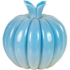 Seguso Vetri D' Arte Murano Blue Gold Italian Art Glass Vase