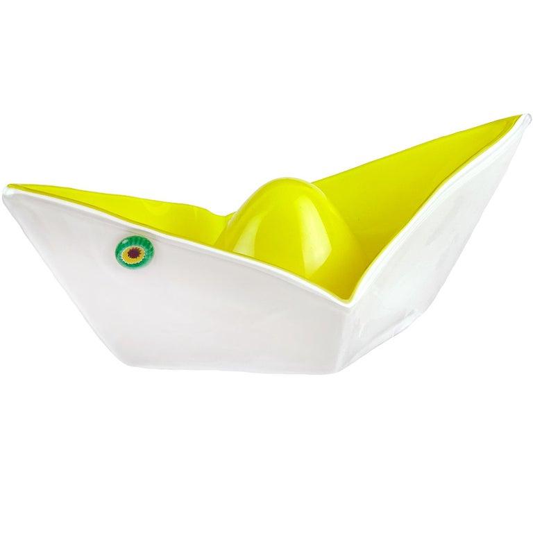 Gino Vistosi Murano 1961 Origami Paper Boat Italian Art Glass Sculptural Bowl For Sale