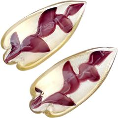 Ercole Barovier Murano Gold Flecks Purple Leafs Italian Art Glass Bowls