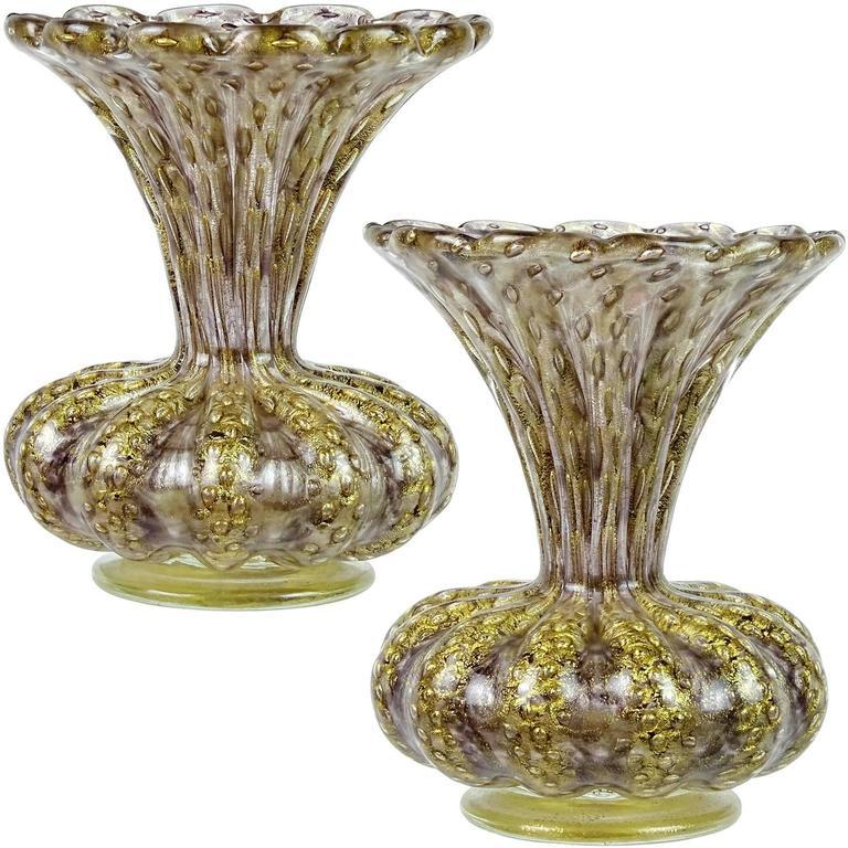 Barovier toso murano purple gold flecks italian art glass for Barovier e toso