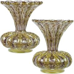 Barovier Toso Murano Purple Gold Flecks Italian Art Glass Flower Vases