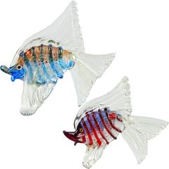 Cenedese Murano Silver and Gold Flecks Italian Art Glass Fish Sculptures
