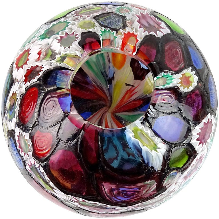 Hand-Crafted Fratelli Toso Murano Millefiori Flower Star Mosaic Italian Art Glass Flower Vase For Sale