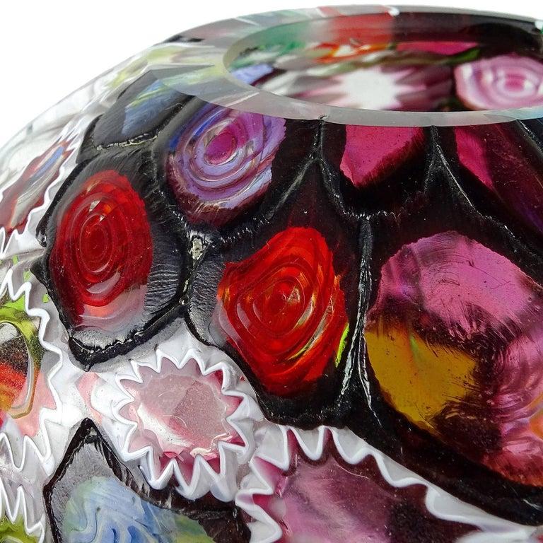 Fratelli Toso Murano Millefiori Flower Star Mosaic Italian Art Glass Flower Vase In Good Condition For Sale In Kissimmee, FL