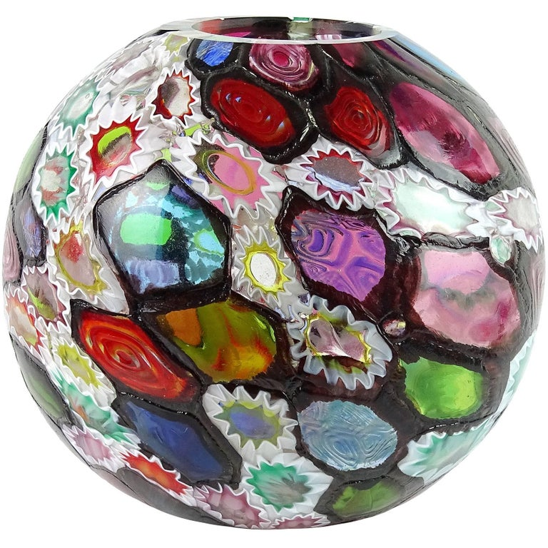 Fratelli Toso Murano Millefiori Flower Star Mosaic Italian Art Glass Flower Vase For Sale