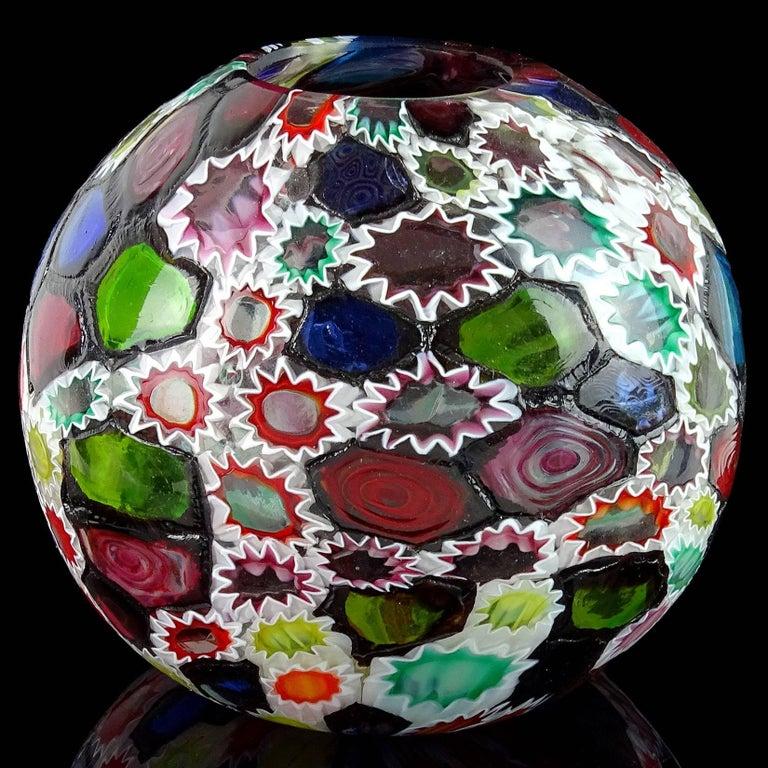 Fratelli Toso Murano Millefiori Flower Star Mosaic Italian Art Glass Flower Vase For Sale 1
