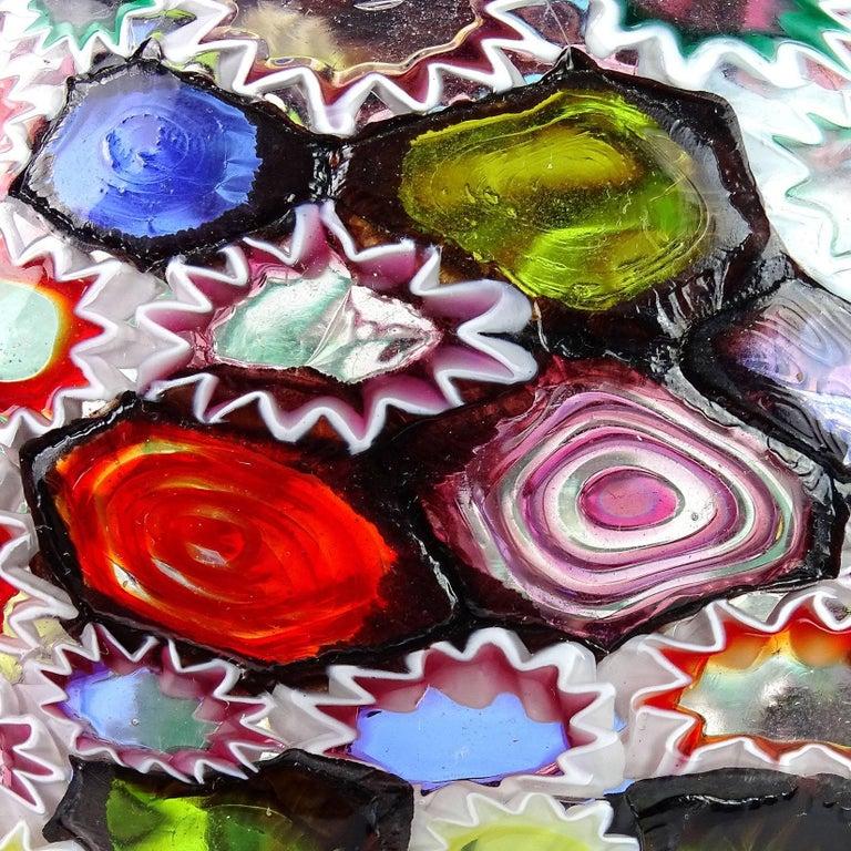 20th Century Fratelli Toso Murano Millefiori Flower Star Mosaic Italian Art Glass Flower Vase For Sale
