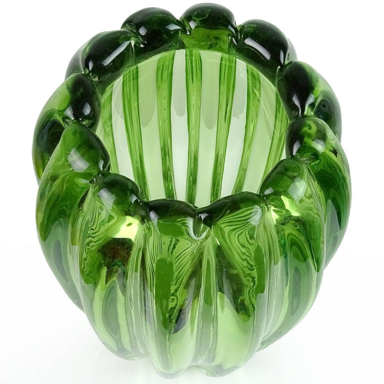 Mid-Century Modern Alfredo Barbini Murano Sommerso Green Ribbed Italian Art Glass Flower Vase For Sale
