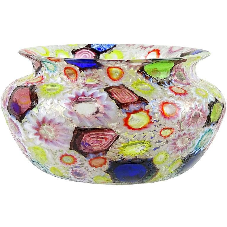 Fratelli Toso Murano Millefiori Flower Star Mosaic Italian Art Glass Bowl