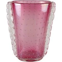 Flavio Poli Seguso Vetri d'Arte Signed Murano Iridescent Italian Art Glass Vase