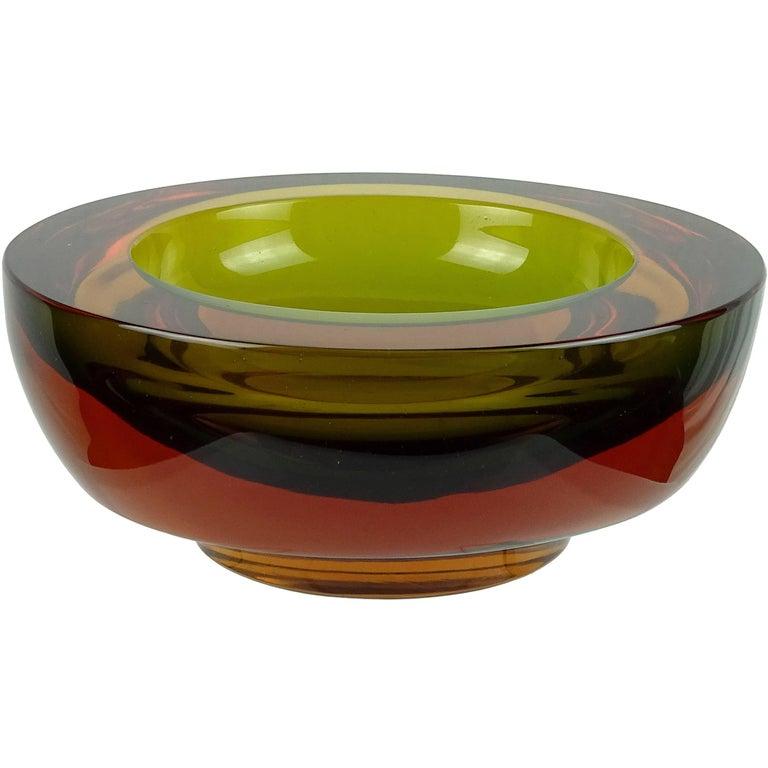 Poli Seguso Vetri d'Arte Murano Sommerso Green Red Amber Italian Art Glass Bowl