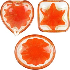 Salviati Murano 1950s Orange Gold Fleck Star Design Italian Art Glass Ring Bowls
