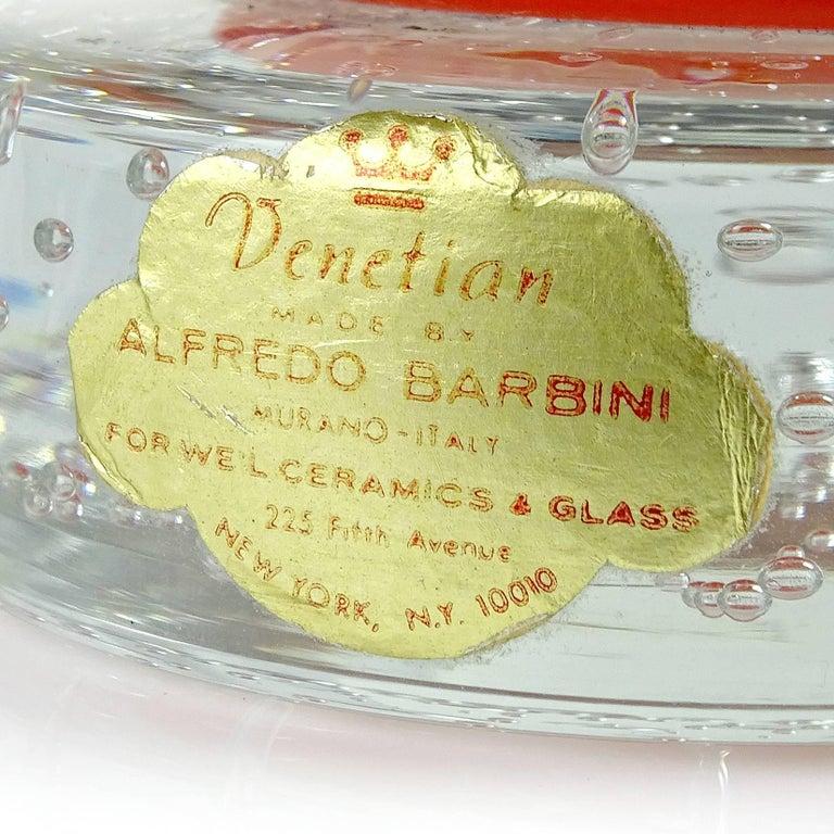 Barbini Murano Orange White Gold Flecks Italian Art Glass Elf Paperweights In Good Condition For Sale In Kissimmee, FL