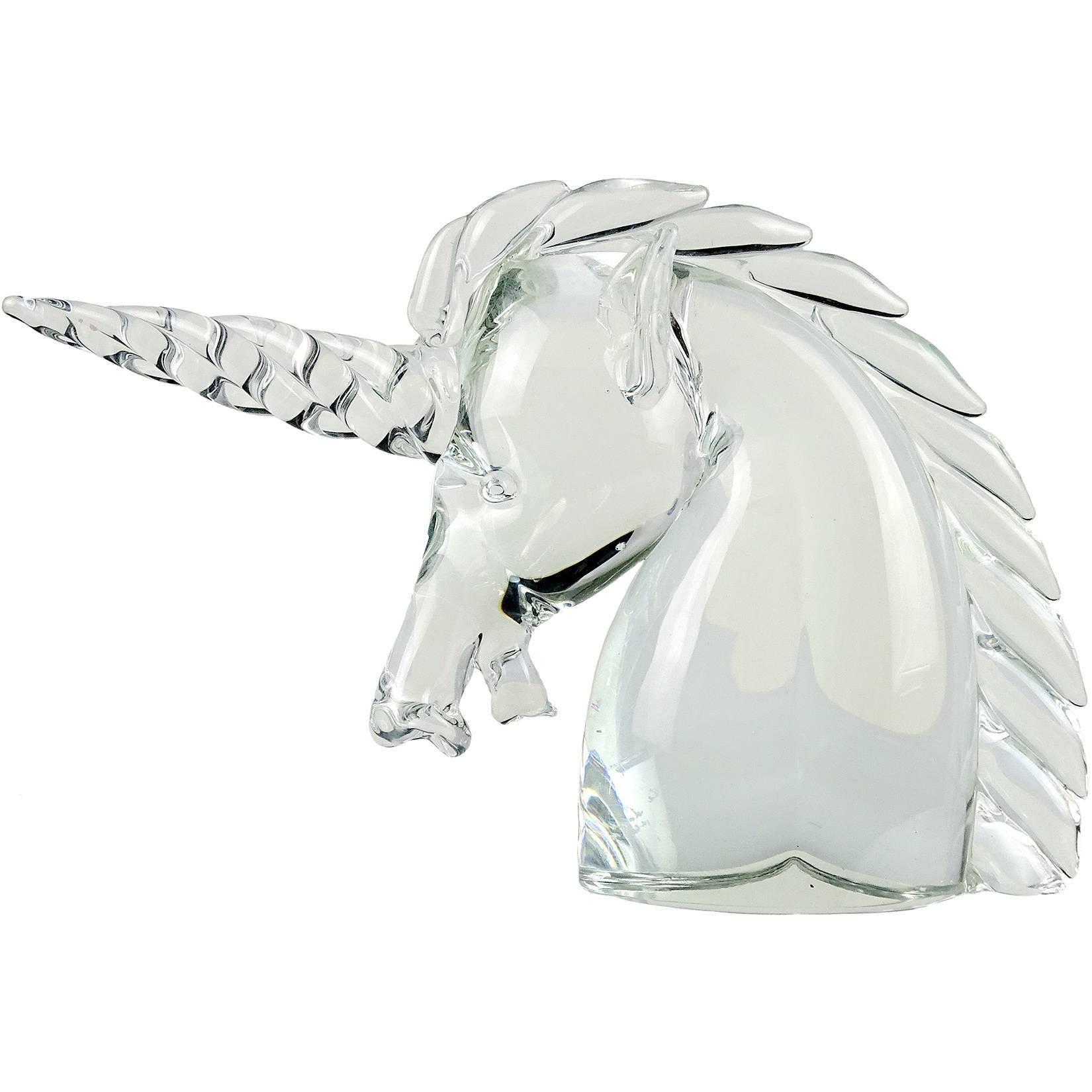 Murano White /& Clear Art-Glass Rabbit Figurine