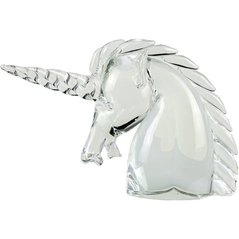 Archimede Seguso Murano Crystal Clear Italian Art Glass Unicorn Head Sculpture