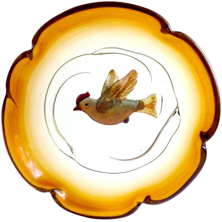 Salviati Barbini Murano Iridescent Gold Flecks Italian Art Glass Bird Bowl