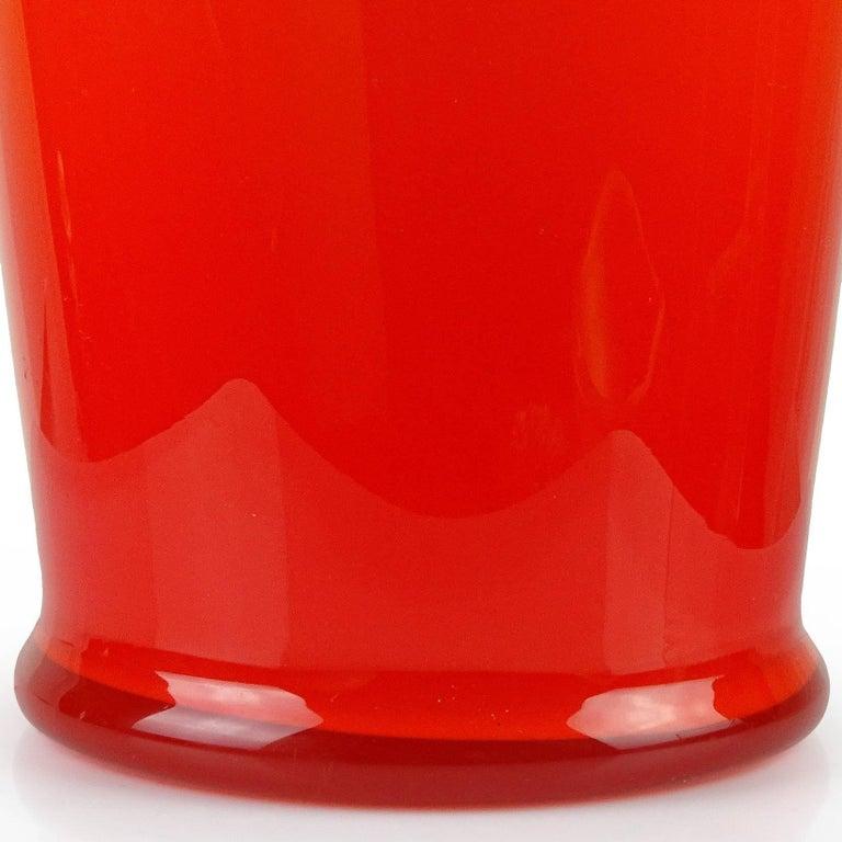 Mid-Century Modern Large Empoli Bright Orange Italian Art Glass Umbrella Stand Floor Flower Vase For Sale
