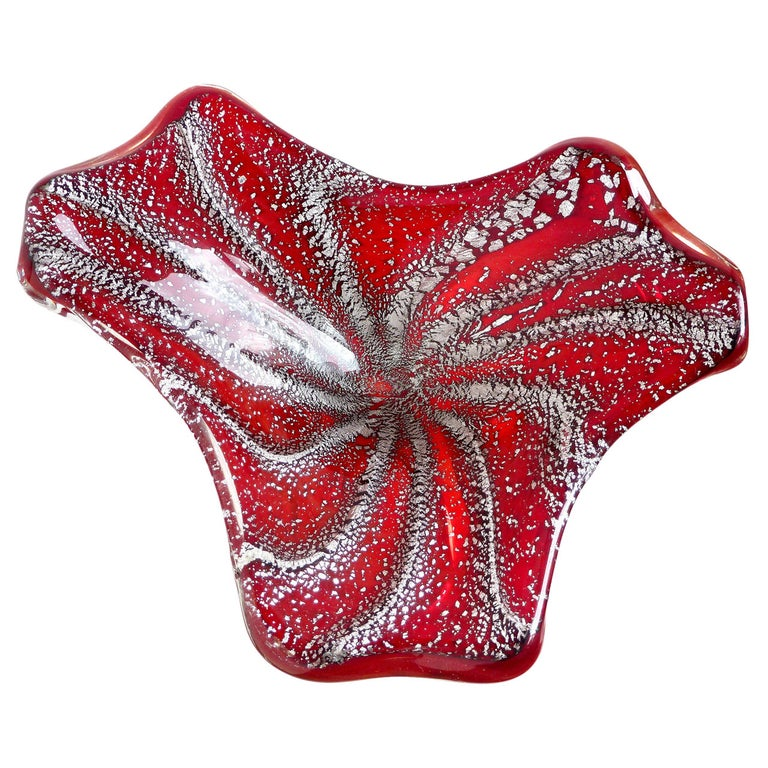 Murano Deep Red Silver Flecks Vintage Italian Art Glass Decorative Bowl