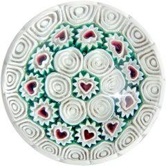 Fratelli Toso Murano Millefiori Heart Mosaic Italian Art Glass Paperweight