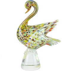 Colorful Murano Fenicio Pulled Feather Design Italian Art Glass Swan Sculptures