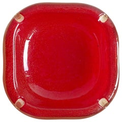 Seguso Vetri d'Arte Murano Red Gold Flecks Italian Art Glass Ashtray Bowl