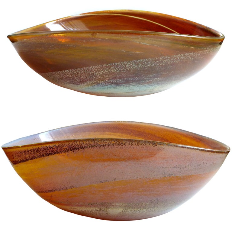 Ercole Barovier Murano Opal Chalcedony Silver Flecks Italian Art Glass Bowls For Sale