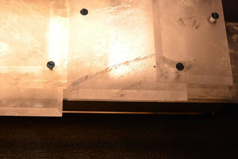 Pair of Modern Luxury Rock Crystal Quartz Sconces For Sale 1