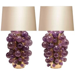 Pair of Amethyst Rock Crystal Bubble Lamps