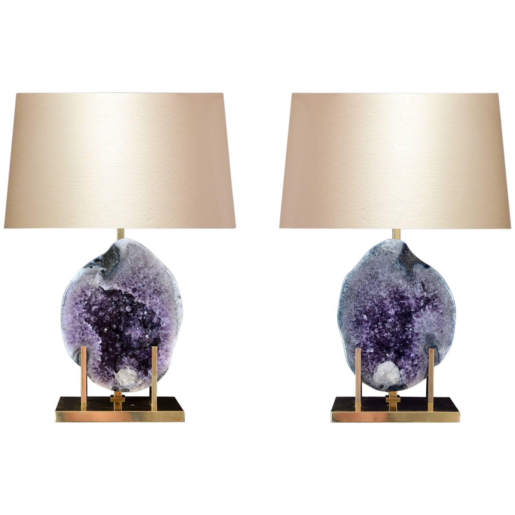 Pair of Natural Amethyst Rock Crystal Quartz Lamps