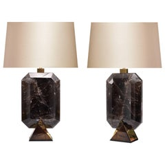 Pair of Diamond Form Smoky Brown Rock Crystal Quartz Lamps