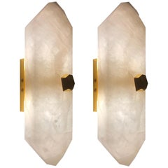 Group of Four Diamond Form Rock Crystal Sconces by Phoenix