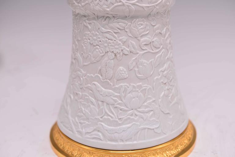 Late 20th Century Pair of Fine Carved White Porcelain Lamps For Sale