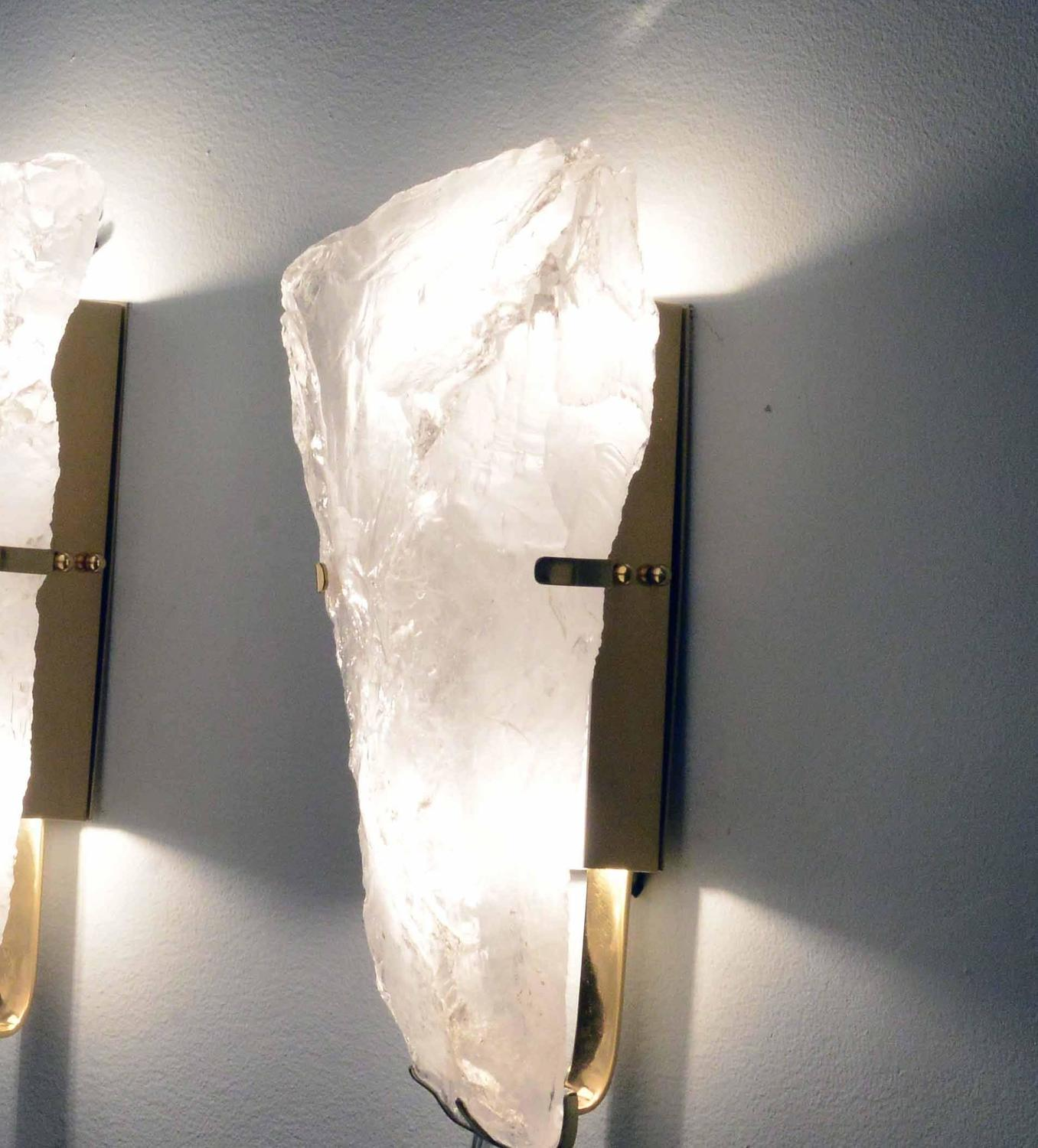 Wall Sconces With Crystal : Pair of Natural Form Rock Crystal Wall Sconces at 1stdibs