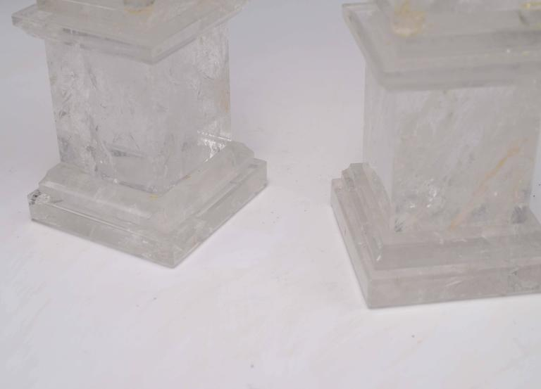 Pair of Carved Rock Crystal Quartz Obelisks In Excellent Condition For Sale In New York, NY