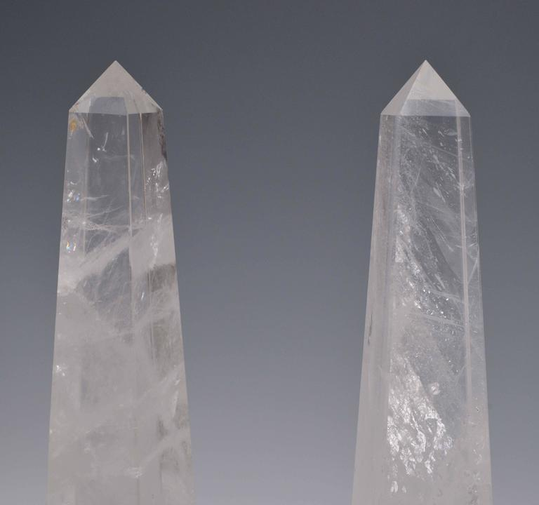 Pair of carved rock crystal obelisks.